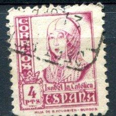 Sellos: EDIFIL 829. 4 PTS ISABEL LA CATÓLICA. MATASELLADO. UN DIENTE CORTO. Lote 118581275