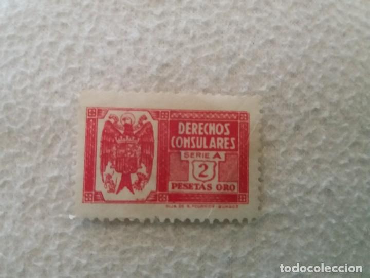 SELLO DERECHOS CONSULARES SERIE A ROJA 2 PESETAS ORO (Sellos - España - Estado Español - De 1.936 a 1.949 - Usados)