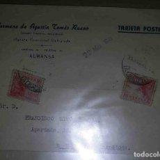 Sellos: ALMANSA, ALBACETE. REUS, BARCELONA. EL CID 10CTS. HERMANOS DE AGUSTÍN TOMÁS RUANO.1941.. Lote 119474243
