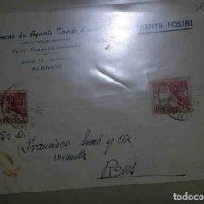 Sellos: ALMANSA. REUS, TARRAGONA. EL CID 10CTS. HERMANOS DE AGUSTÍN TOMÁS RUANO.1942.. Lote 119475135