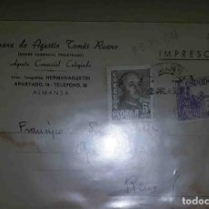 Sellos: ALMANSA. REUS, TARRAGONA. FRANCO BUSTO 5CTS EL CID 5CTS AUX. HERMANOS DE AGUSTÍN TOMÁS RUANO.1949.. Lote 119475315