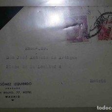 Sellos: TERUEL. MADRID. A. GÓMEZ IZQUIERDO. FRANCO PERFIL 25CTS. EL CID 10CTS. 1947.. Lote 119615623