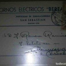 Sellos: SAN SEBASTIAN. VILLANUEVA DE CÓRDOBA. HORNOS ELÉCTRICOS. EL CID. 5CTS. 1949.. Lote 119619623