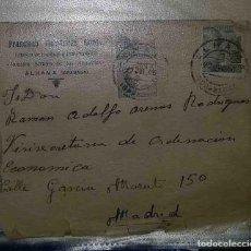 Sellos: ALHAMA, GRANADA. MADRID. EL CID. 5CTS. FRANCO PERFIL. 1945. FABRICA DE HARINAS Y PANIFICADORA. . Lote 119623023