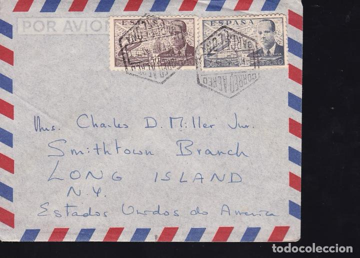 F23-94-CARTA CORREO AÉREO BARCELONA -USA . 1953. FRANQUEO LA CIERVA. LUJO (Sellos - España - Estado Español - De 1.936 a 1.949 - Cartas)