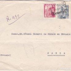 Sellos: F24-71-CARTA CERTIFICADA BARBASTRO HUESCA - PARIS. 1955. LLEGADA VER DORSO. Lote 120006899