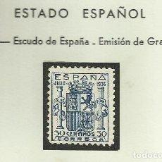Sellos: SELLOS EDIFIL 801 - GRANADA - AÑO 1936 LUJO CENTRAJE PERFECTO SIN FIJASELLOS CAT 3.000 € ***. Lote 120181087