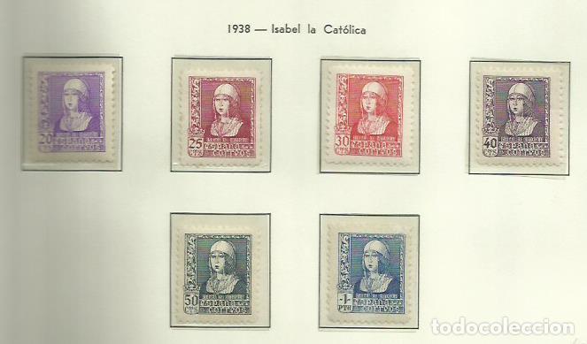 SELLOS EDIFIL 855 / 860 - ISABEL LA CATÓLICA - AÑO 1938 - 6V LUJO NUEVA SIN FIJASELLOS XXX (Sellos - España - Estado Español - De 1.936 a 1.949 - Nuevos)
