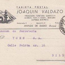 Sellos: TARJETA POSTAL: 1946 JOAQUIN VALDAZO ( ARANDA DE DUERO ) - BILBAO. Lote 120238991