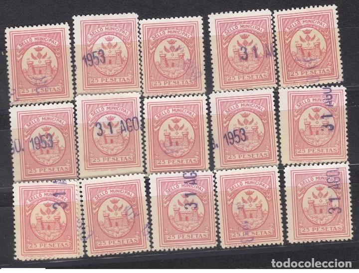 ALCOY 25 PESETAS COLOR ROSA, SELLO MUNICIPAL 1953 - LOTE PARA ESTUDIO (Sellos - España - Estado Español - De 1.936 a 1.949 - Usados)