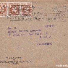Sellos: CARTA: 1942 FEDERACION DE EXPORTADORES DE NARANJAS / GRAO ( VALENCIA ). Lote 120908111