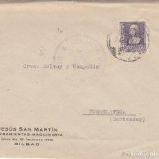 Sellos: CARTA: 1939 BILBAO ( JESUS SAN MARTIN ) - TORRELAVEGA. Lote 121022791