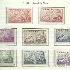 Sellos: SELLOS EDIFIL 940 / 947 - JUAN DE LA CIERVA - AÑO 1941 - NUEVA CENTRAJE LUJO (8V) CON FIJASELLOS XX. Lote 121231687