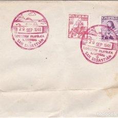 Sellos: ESPAÑA 1948 SOBRE - MATASELLO EXPOSICIÓN NACIONAL FILATÉLICA SAN SEBASTIÁN . Lote 122476547