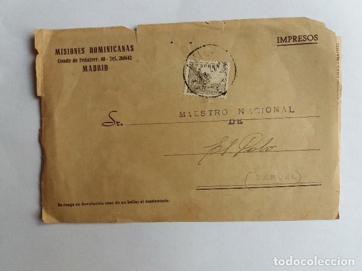 TARJETA CIRCULADA 194? MISIONES DOMINICANAS DE MADRID A TERUEL - LEOPARDO - CASADORES (Sellos - España - Estado Español - De 1.936 a 1.949 - Cartas)