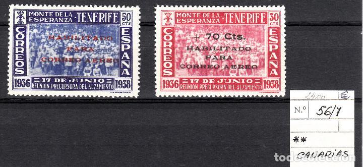 CANARIAS.- II ANIV. REUNION MONTE DE LA ESPERANZA -TENERIFE-PRECURS.ALZAMIENTO NUMS 56-57 (Sellos - España - Estado Español - De 1.936 a 1.949 - Nuevos)