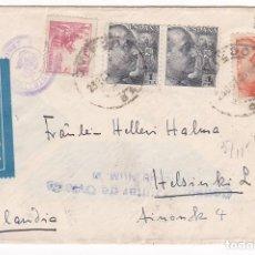 Sellos: F27-9- CARTA OVIEDO-FINLANDIA 1940. CENSURA. AVIÓN ALA LITTORIA. Lote 126608147