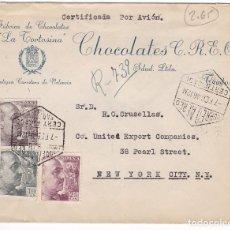 Sellos: F27-9- CARTA FÁBRICA CHOCOLATES LA TORTOSINA. BARCELONA- USA 1946. Lote 126608371