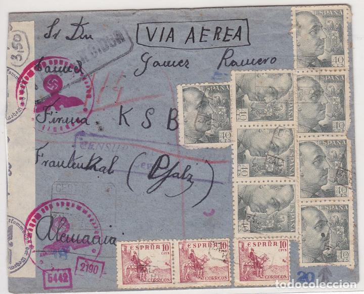 F27-10- CARTA ZALAMEA LA REAL HUELVA- ALEMANIA 1943. CENSURAS (Sellos - España - Estado Español - De 1.936 a 1.949 - Cartas)