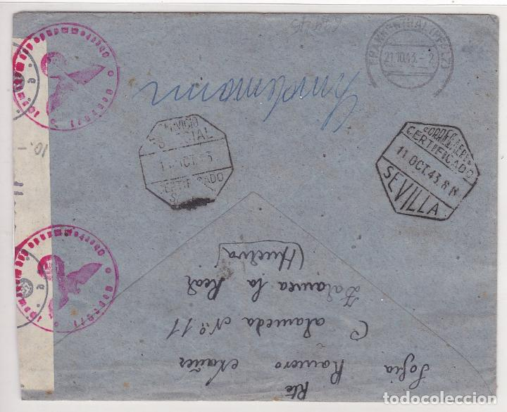 Sellos: F27-10- Carta ZALAMEA LA REAL Huelva- ALEMANIA 1943. Censuras - Foto 2 - 126615223