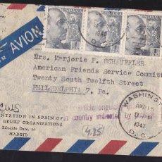 Sellos: F27-25-CARTA MADRID-USA 1947. VALIJA. MATASELLOS AMERICANOS . Lote 126706367