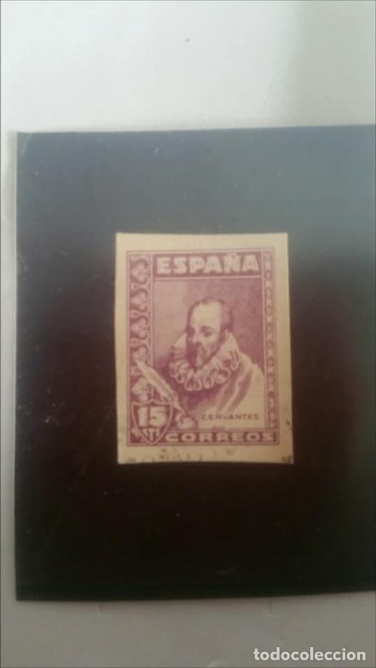 Sellos: 1938-1940. Cervantes. 15 céntimos, violeta. PRECIOSO Y RARO SIN CHARNELA - Foto 2 - 126793207