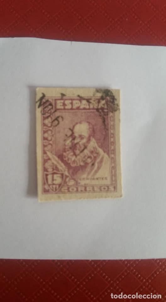 Sellos: 1938-1940. Cervantes. 15 céntimos, violeta. PRECIOSO Y RARO CON CHARNELA - Foto 2 - 126822483