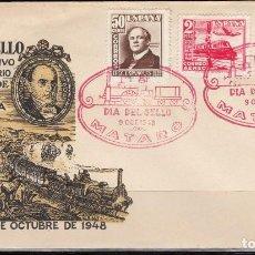 Sellos: 1ª EXPOSICIÓN FILATÉLICA DE MATARO, CONMEMORATIVA DEL CARRIL DE MATARÓ, TRENES , EDIFIL Nº 1037-1039. Lote 127586491
