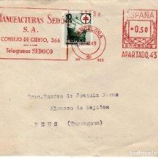 Sellos: SOBRE CON FRANQUEO MECÁNICO DE MANUFACTURAS SEDÓ EN BARCELONA - 1949. Lote 127876711