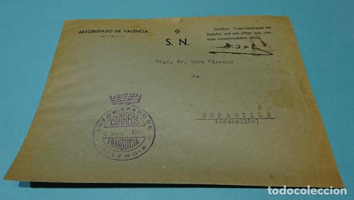 SOBRE CON MARCA FRANQUICIA ARZOBISPADO DE VALENCIA A ESPADILLA (CASTELLÓN). 1947 (Sellos - España - Estado Español - De 1.936 a 1.949 - Cartas)