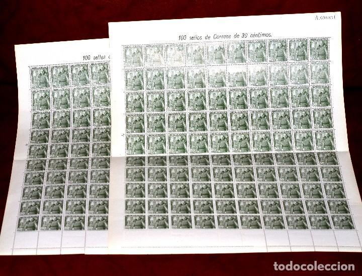 DOS PLIEGOS DE SELLOS DE FRANCO,30 CÉNTIMOS,200 SELLOS EN TOTAL, NUEVOS (Sellos - España - Estado Español - De 1.936 a 1.949 - Nuevos)