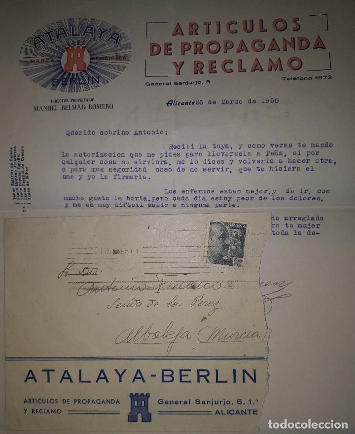 ALICANTE ATALAYA BERLIN ARTÍCULOS DE PROPAGANDA Y RECLAMO CIRCULADA A MURCIA 1950 (Sellos - España - Estado Español - De 1.936 a 1.949 - Cartas)