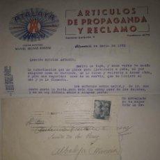 Sellos: ALICANTE ATALAYA BERLIN ARTÍCULOS DE PROPAGANDA Y RECLAMO CIRCULADA A MURCIA 1950. Lote 128105311