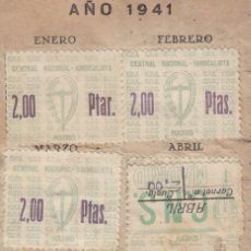 Sellos: 1941 CARNET CNS CON 11 SELLOS 2 PTAS CON 3 CLASES DISTINTAS. OJO SELLO CON ERROR 2 PTAR.. Lote 128269875