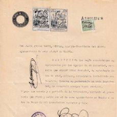 Sellos: 1942. SELLO LOCAL MUNICIPAL AYUNTAMIENTO GANDIA 3 PTS CERTIFICADO BUENA CONDUCTA FIRMA ALCALDE. Lote 128383775