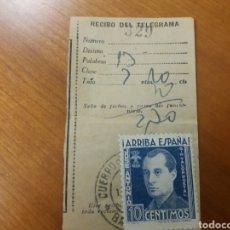 Sellos: RECIBO TELEGRAMA. BARCELONA. VIÑETA JOSE ANTONIO 10 CENTS.. Lote 128723835