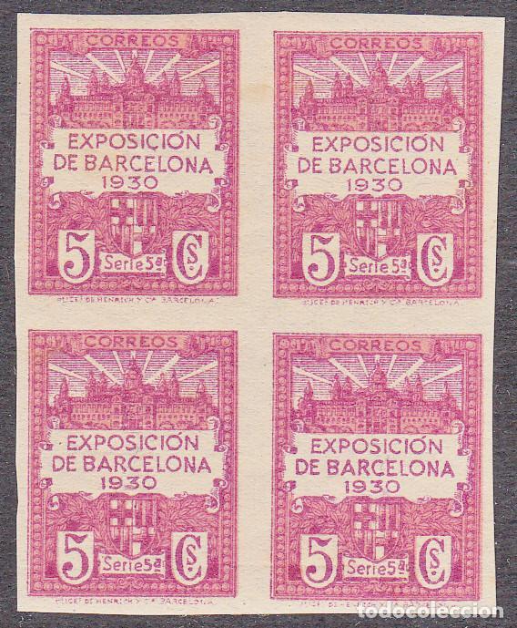 BARCELONA BLOQUE DE CUATRO NUM. 5 SIN DENTAR NUEVO CON SEÑAL DE CHARNELA (Sellos - España - Estado Español - De 1.936 a 1.949 - Nuevos)