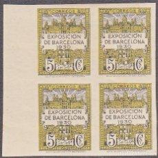 Briefmarken - BARCELONA BLOQUE DE CUATRO NUM. 6 SIN DENTAR NUEVO CON SEÑAL DE CHARNELA - 128794551