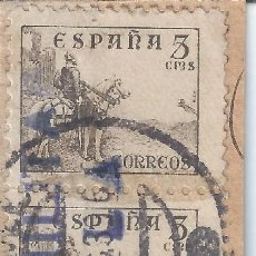 Sellos: EDIFIL 816B CID 1939. TIRA DE 4 SELLOS. DOBLE MATASELLOS MELILLA 22-12-1939. CENSURA MILITAR. LUJO.. Lote 129600139