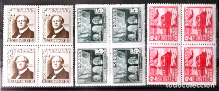 EDIFIL 1037-39, BLOQUES DE 4, EN NUEVO Y SIN CHARNELA. (Briefmarken - Spanien - Franco-Regime - Von 1936 bis 1949 - Neu)