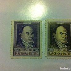Sellos: FERROCARRIL BARCELONA-MATARÓ - 2 SELLOS. Lote 130184159