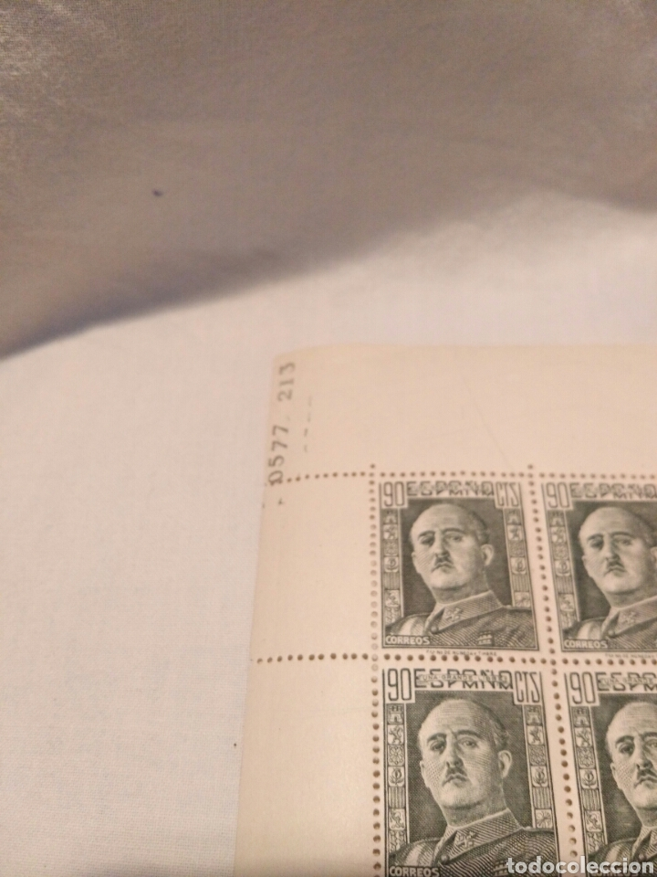 Sellos: PLIEGO DE 100 SELLOS DE 90 CENTIMOS, FRANCO 1948, SIN CIRCULAR - Foto 4 - 131204839