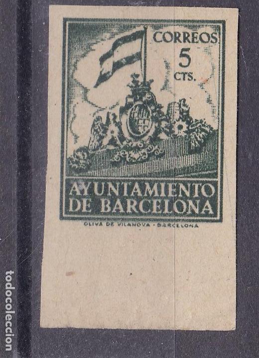 VV25-AYUNTAMIENTO BARCELONA EDIFIL 26. VARIEDAD SIN DENTAR.SIN GOMA (Sellos - España - Estado Español - De 1.936 a 1.949 - Nuevos)