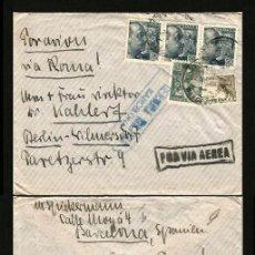 Sellos: CARTA 1939 BARCELONA-BERLIN, DOBLE CENSURA. Lote 132067150