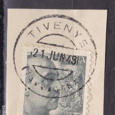 Sellos: VV27-FRANCO USADO TIVENYS TARRAGONA. FECHADOR CIRCULO INTERIOR PEQUEÑO. Lote 133914274