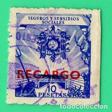 SELLO SEGUROS Y SUBSIDIOS SOCIALES 10 PTAS RECARGO (Sellos - España - Estado Español - De 1.936 a 1.949 - Usados)