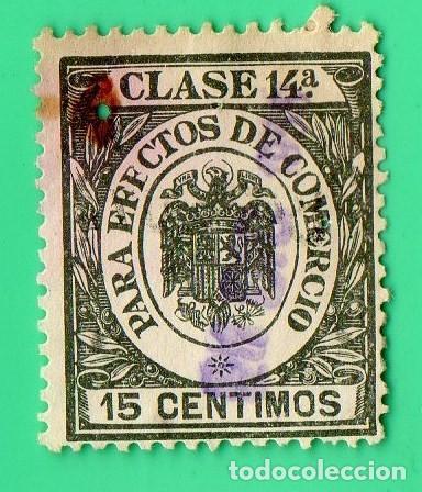 SELLO PARA EFECTOS DE COMERCIO CLASE 14A , 15 CENTIMOS. (Sellos - España - Estado Español - De 1.936 a 1.949 - Usados)