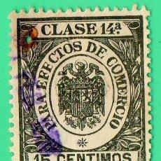 Sellos: SELLO PARA EFECTOS DE COMERCIO CLASE 14A , 15 CENTIMOS.. Lote 134047034