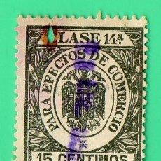 Sellos: SELLO PARA EFECTOS DE COMERCIO CLASE 14A , 15 CENTIMOS.. Lote 134047054