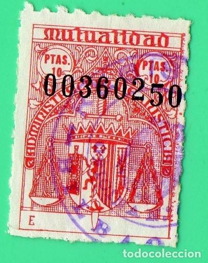 SELLO MUTUALIDAD MINISTERIO DE JUSTICIA 10 PTAS (Sellos - España - Estado Español - De 1.936 a 1.949 - Usados)